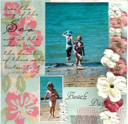 """Beach Days"" layout by Janine Cobb"